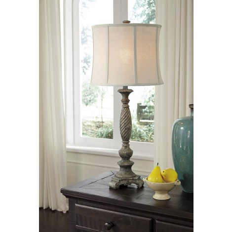 Alinae Antique Gray Poly Table Lamp (Includes 1)