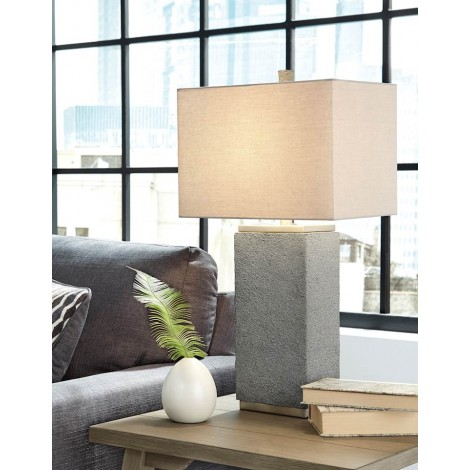 Amergin Gray Poly Table Lamp (Includes 2)