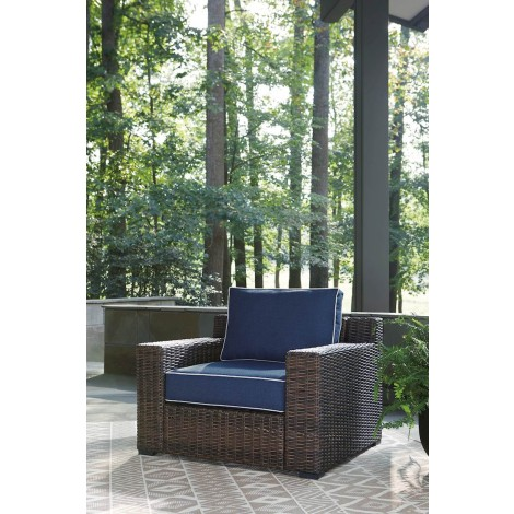 Grasson Lane Brown/Blue Lounge Chair with Cushion (Includes 1)