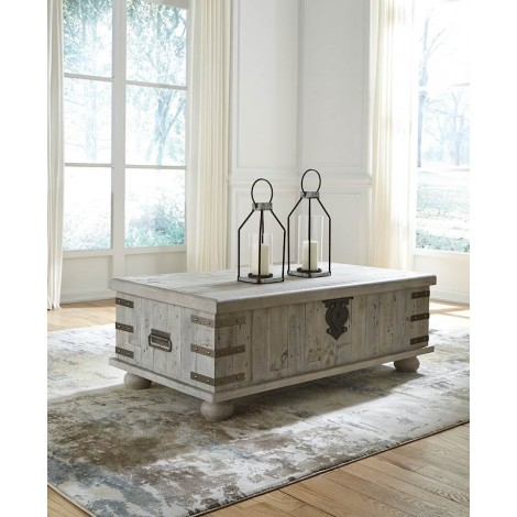Carynhurst White Wash Gray Accent Table Set