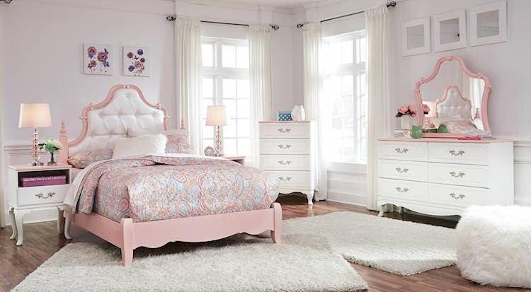 Laddi White/Pink Bedroom Set - SpeedyFurniture.com