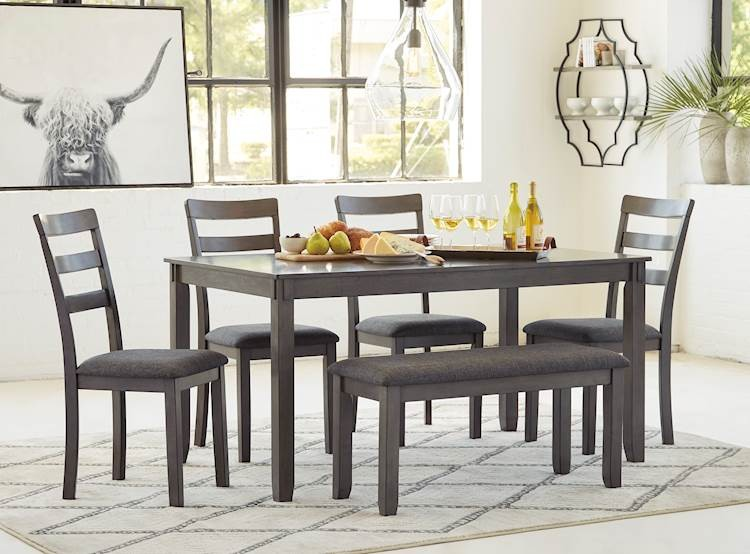 bridson gray rectangular dining room table set includes 6