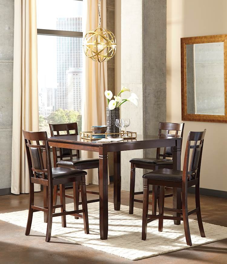 Bennox Brown Dining Room Counter Table Set (Includes 5