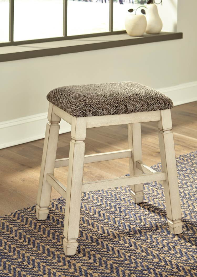 Prime Bolanburg Antique White Upholstered Stool Includes 2 Pabps2019 Chair Design Images Pabps2019Com