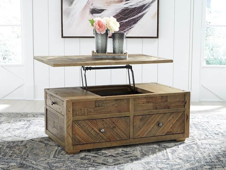 Grindleburg Grayish Brown Rectangular Lift Top Cocktail Table