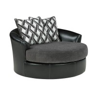 Kumasi Smoke Oversized Swivel Accent Chair