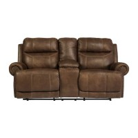 Austere Brown Double Recliner Loveseat with Console