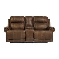 Austere Brown Double Recliner Power Loveseat with Console