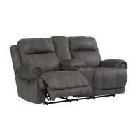 Austere Gray Double Recliner Loveseat with Console