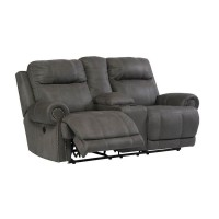 Austere Gray Double Recliner Power Loveseat with Console