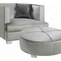 Bling Game Living Room Silver Ottoman