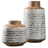 Meghan Tan/Black Vase Set (Includes 2)