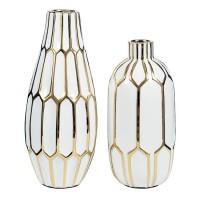Mohsen Gold Finish/White Vase Set (Includes 2)