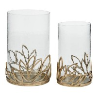 Pascal Antique Gold Finish Candle Holder Set (Includes 2)