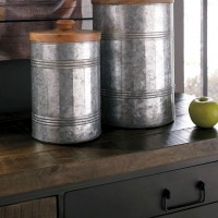 Divakar Antique Gray Jar Set (Includes 2)