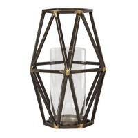 Devo Black/Gold Finish Candle Holder