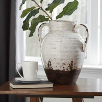 Dion Distressed White Vase