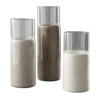 Deus Gray/White/Brown Candle Holder Set (Includes 3)