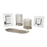 Dympna Silver Finish Accessory Set (Includes 5)
