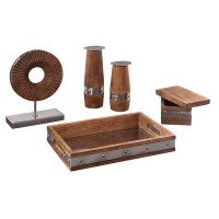 Dinh Brown/Chrome Finish Accessory Set (Includes 5)