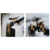Jerrin Black/White/Gold Finish Wall Art Set (Includes 2)