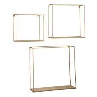 Efharis Natural/Gold Finish Wall Shelf Set (Includes 3)