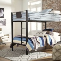 Dinsmore Black/Gray Twin/Twin Bunk Bed with Ladder