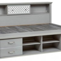 Arcella Gray Twin/Full Bookcase Headboard