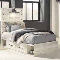 Cambeck Whitewash Twin Panel Bed with (2) Underbed Side Storage