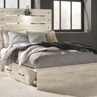 Cambeck Whitewash Full Panel Bed with (2) Underbed Side Storage