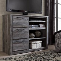 Baystorm Gray Media Chest with Fireplace Option