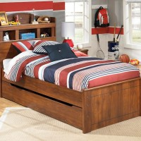 Barchan Medium Brown Twin Bookcase Headboard Bed with Trundle