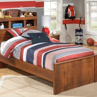 Barchan Medium Brown Twin Bookcase Headboard Panel Bed