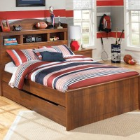 Barchan Medium Brown Full Bookcase Headboard Bed with Trundle