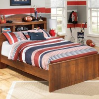 Barchan Medium Brown Full Bookcase Headboard Panel Bed