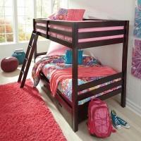 Halanton Dark Brown Twin/Twin Bunk Bed with Ladder