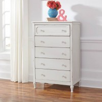 Faelene Chipped White Five Drawer Chest