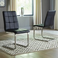 Madanere Chrome Finish Dining Upholstered Side Chair (Includes 4)