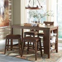 Chaleny Warm Brown Dining Room Set