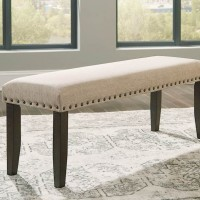 Rokane Brown Large Upholstered Dining Room Bench