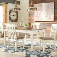 Bardilyn Antique White/Brown Table And (4) Chairs