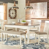 Bardilyn Antique White/Brown Table,(4) Chairs,(1) Bench