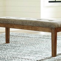 Flaybern Brown Large Upholstered Dining Room Bench