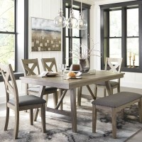 Aldwin Gray Table,(4) Side Chairs,Bench