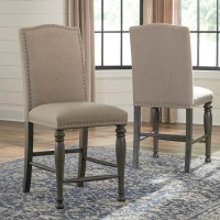Audberry Dark Gray Upholstered Barstool (Includes 2)