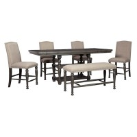 Audberry Dark Gray Cntr Height Table,(4) 24 Stools,Bench
