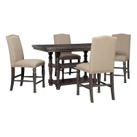 Audberry Dark Gray Cntr Height Table And (4) 24 Stools