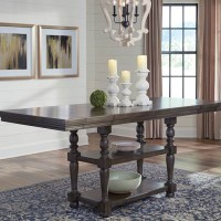 Audberry Dark Gray Rectangular Dining Room Counter Extension Table