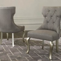 Coralayne Silver Finish Dining Upholstered Side Chair (Includes 2)