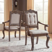 Charmond Brown Dining Upholstered Arm Chair (Includes 2)